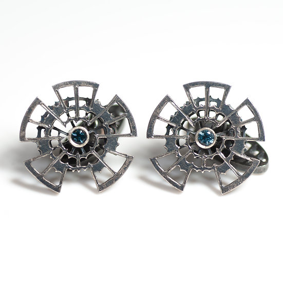 Cufflinks with London Blue Topaz Handmade saw pierced hand engraved decorative toggle layered Tom Asquith Jewellery
