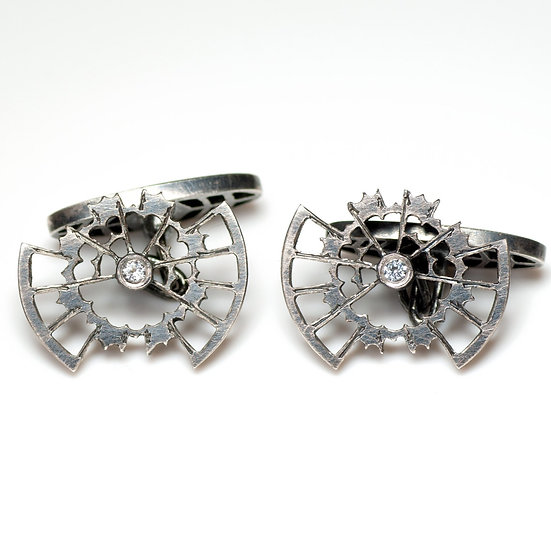 Cufflinks with White Topaz Handmade saw pierced hand engraved decorative toggle layered Tom Asquith Jewellery