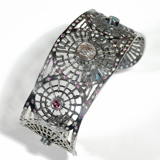 cuff Tourmalated Quartz Topaz garnet saw pierced hand engraved tom asquith jewellery