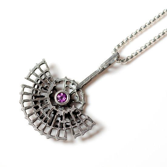 Rhodolite Garnet Pendant  patina satin necklace Tom Asquith jewellery