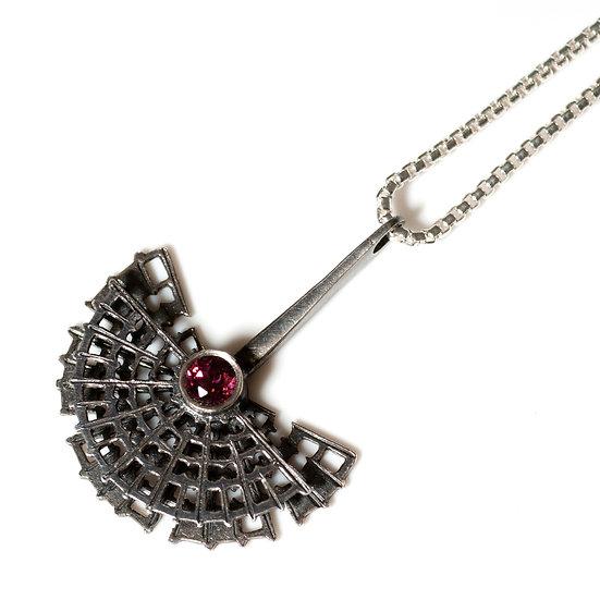 Garnet geometric Pendant  patina necklace hand engraved saw pierced Tom Asquith jewellery