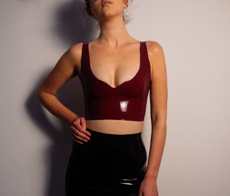 Latex Crop Top - Latex Plunge Neck And Square Back Crop Top