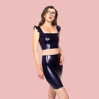 Latex Crop Top and Skirt in Metallic Purple Latex