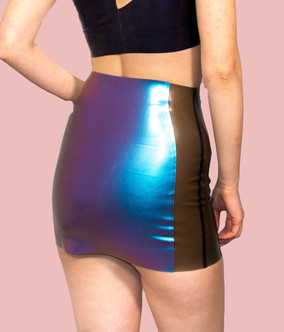 Latex skirt with translucent latex side