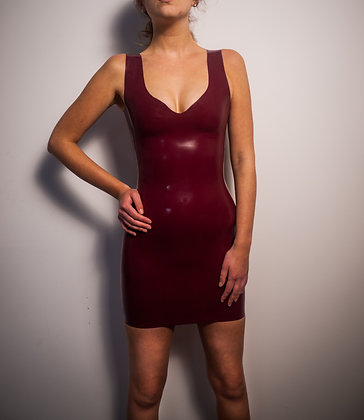 Latex Dress - Plunge Neck And Square Back