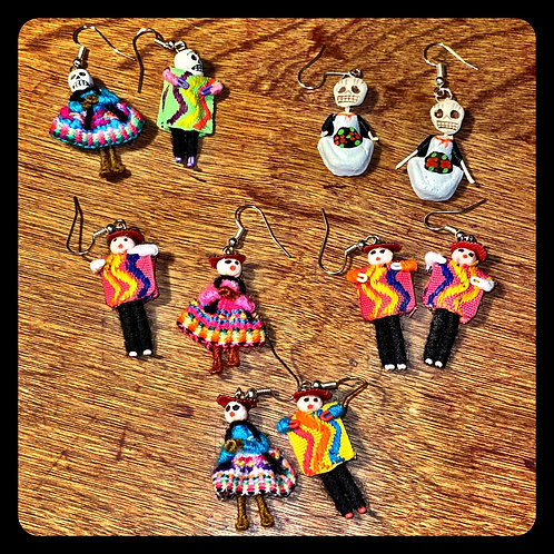 Guatemalan Worry Doll  Earings