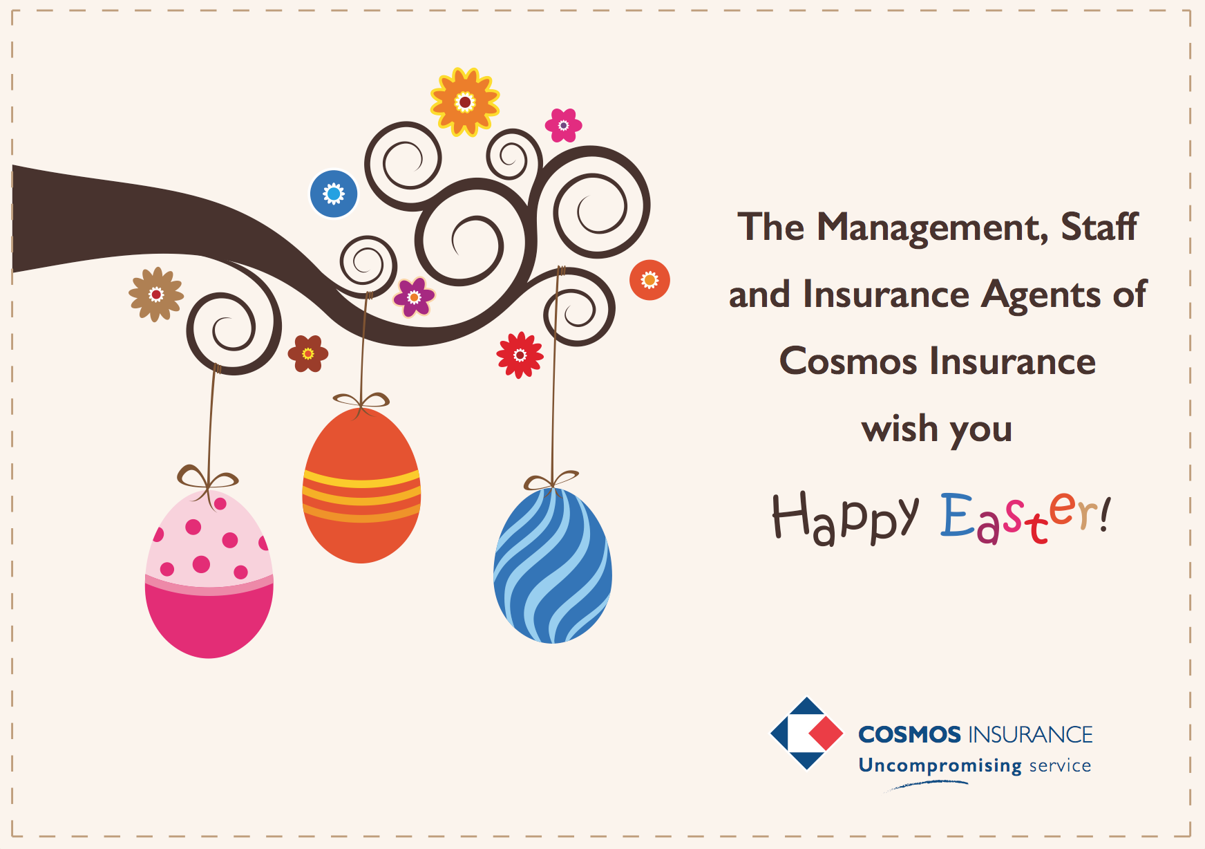Cosmos Insurance   Happy Easter Card