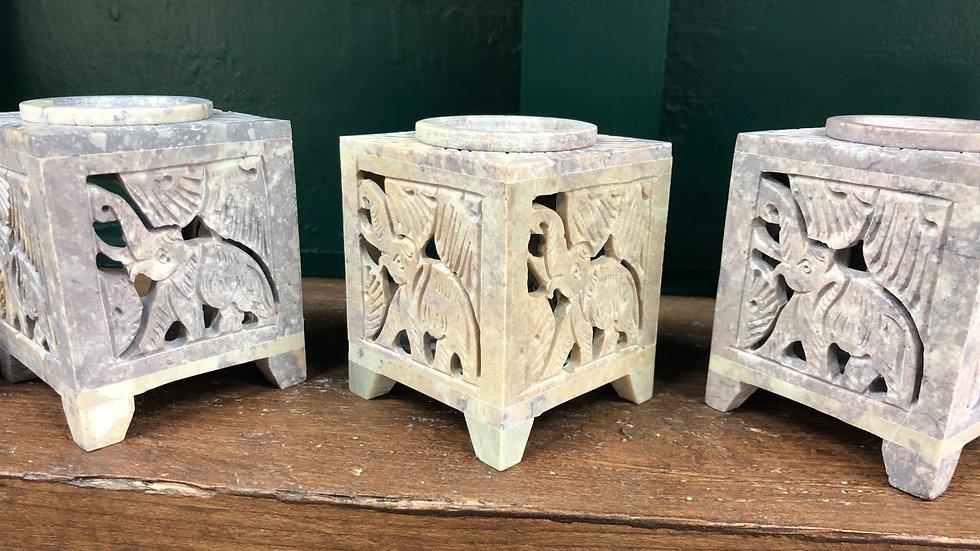 Carved Elephant Soapstone Burner