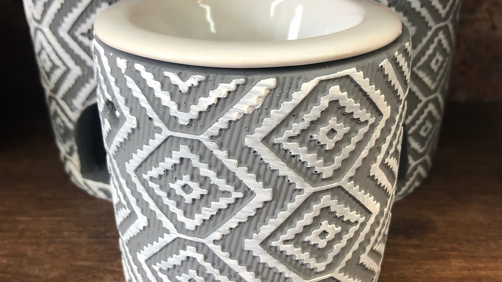 Light Grey Diamond Patterned Concrete Wax Warmer