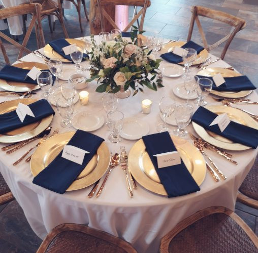G&J_Gold & Navy Table Settings