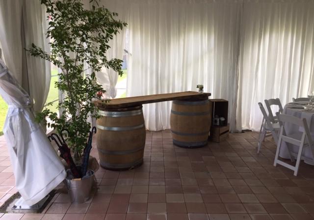 Barrels and live-edge wood tabletop