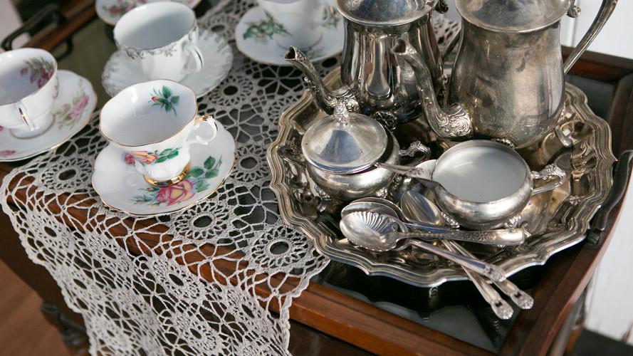 Tea Cart with Antique Silver Set