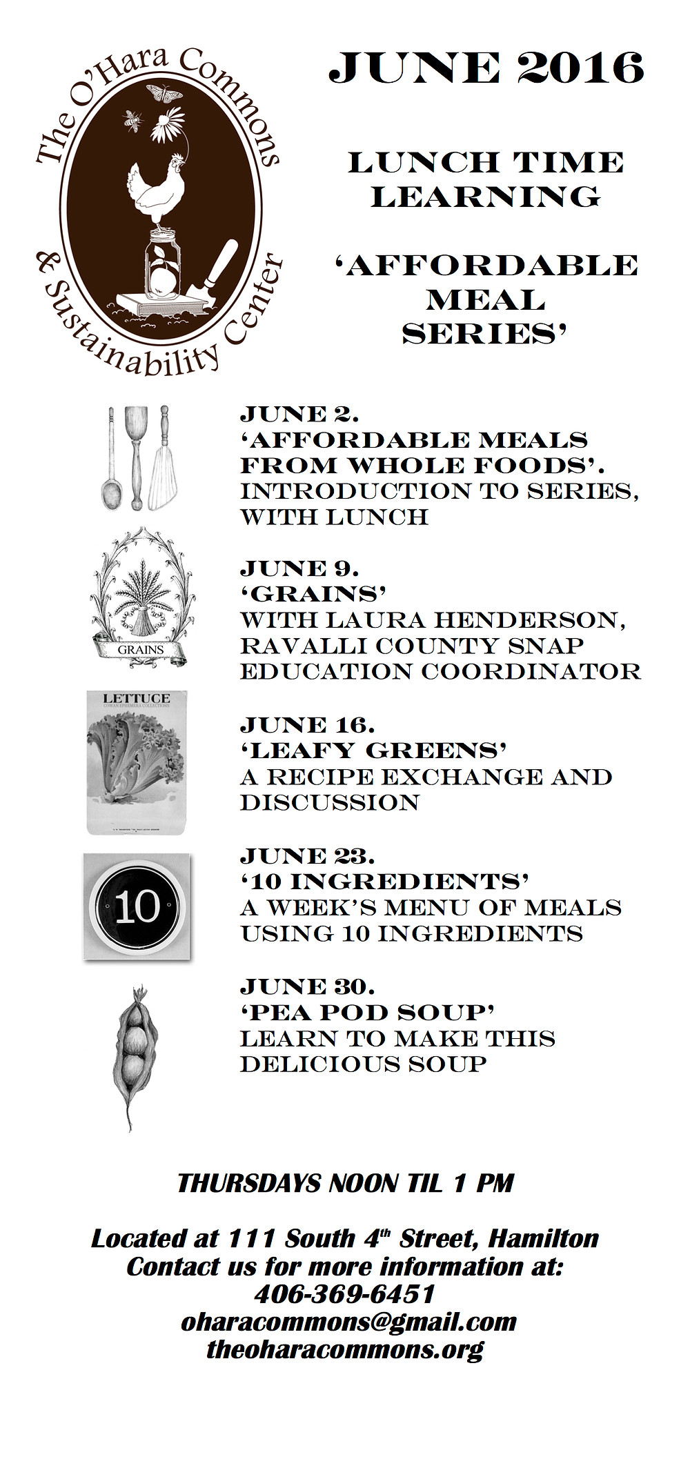 June Schedule 'Affordable Meal Series'