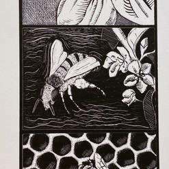 Bee Woodblock Print