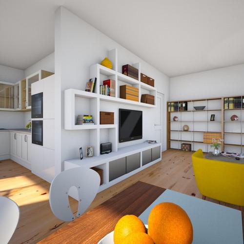 Obývací pokoj, kuchyně, jídelna