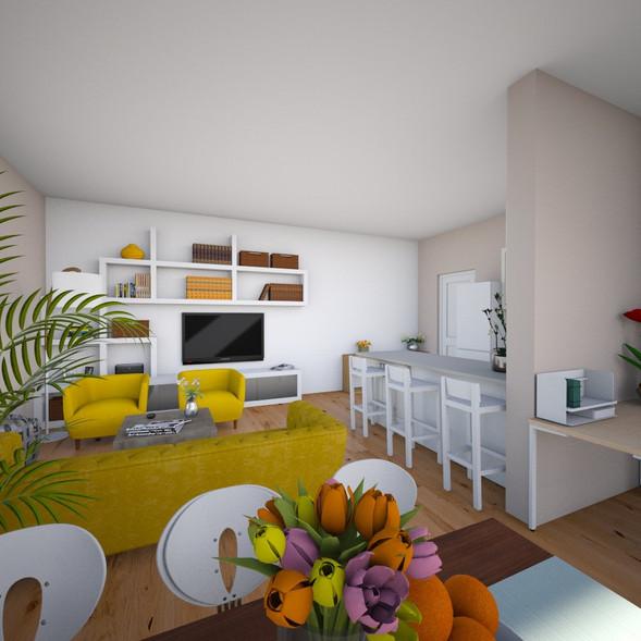 Obývací pokoj + Jídelna + pracovní kout.