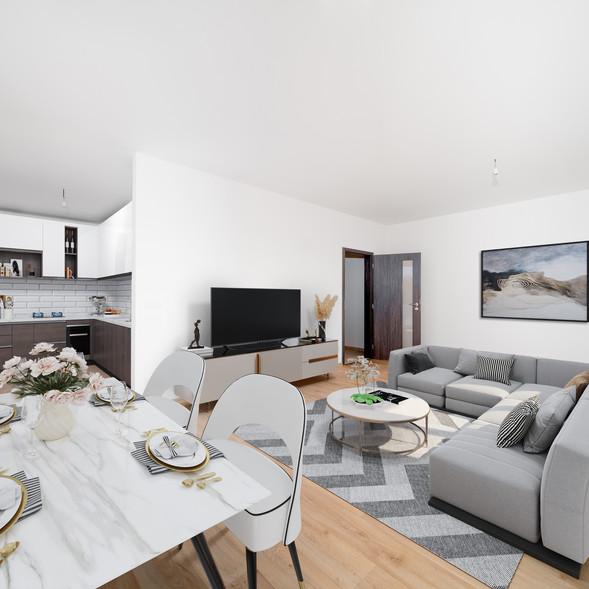 Obývací pokoj, jídelní kout, kuchyně