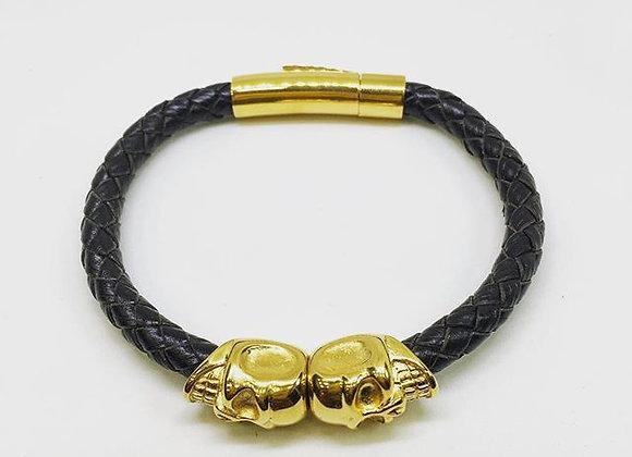 Noir en cuir nappa / Or Skull Bracelet Double