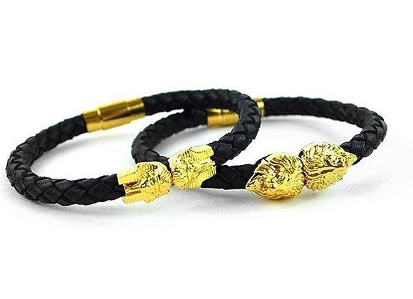 bracelet tete de lion or