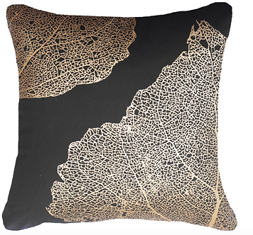 Cushion: Leaf Bone Black Lounge
