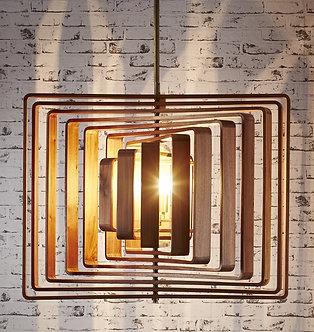 Lighting - EML Walnut Timber Spiral Hanging Lamp