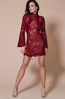 WINNONA Dress: Sorrento Long sleeve Wine