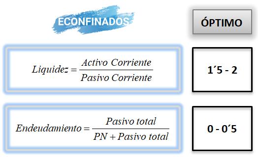 Actividad resuelta selectividad ratios. Andalucía. Econfinados.