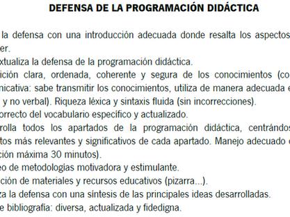 Defensa de la programación didáctica en secundaria
