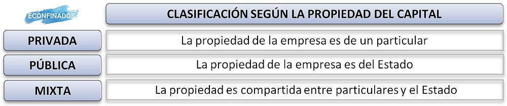 clasificación de las empresas según la propiedad del capital