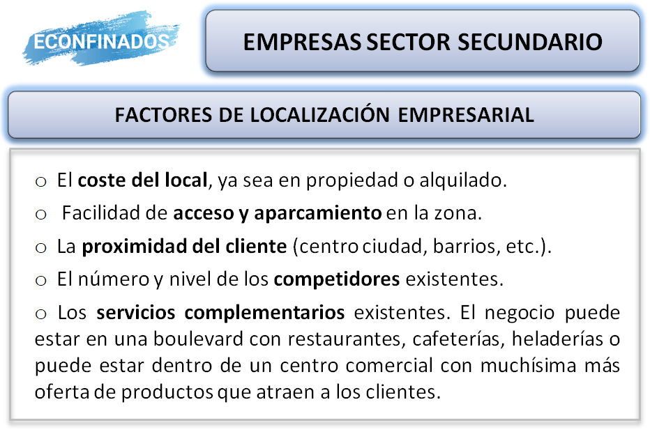 factores de localización de empresas sector secundario