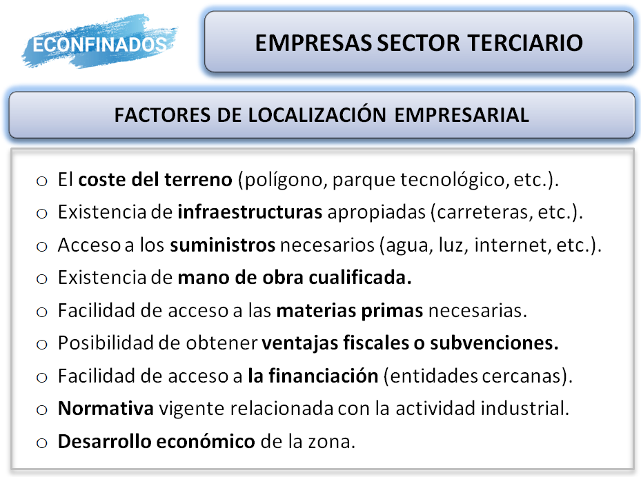 factores de localización de empresas sector terciario