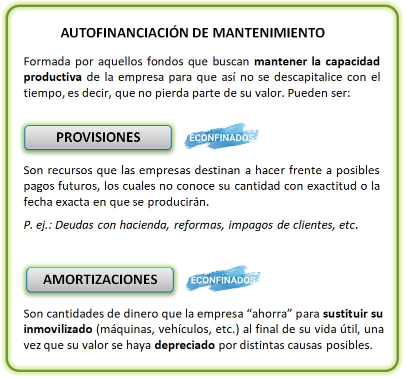 Autofinanciación de mantenimiento. Provisiones y amortizaciones