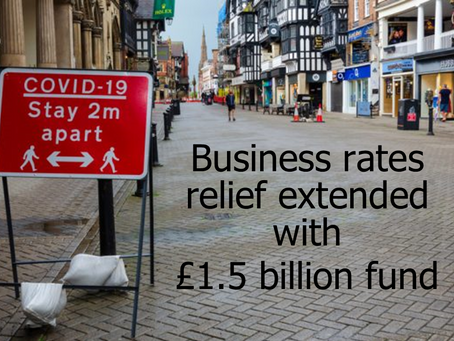 Business rates relief extended with £1.5 billion fund