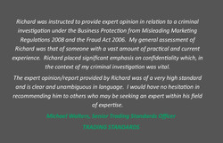 Client quote - Michael Walters Trading S