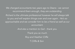 Grey quote box-Roy and Heather Cliffe