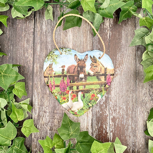 Donkey & Geese Heart Plaque