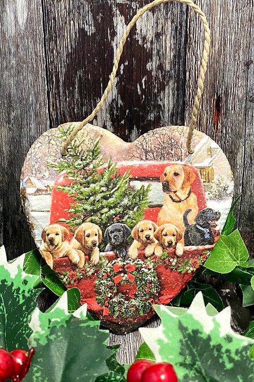Christmas Dogs Slate Heart Plaque