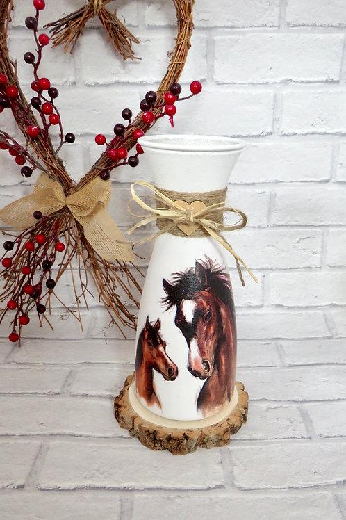 Long Glass Horse vase