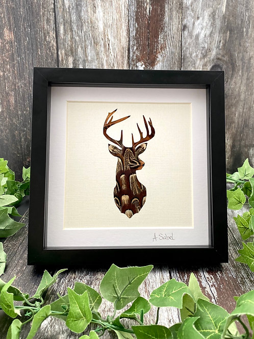 Stag Pheasant Feather Framed Art