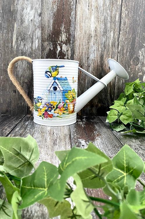 Bright Springtime Garden Bird Watering Can