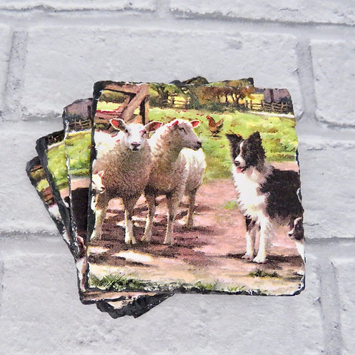 SET OF 4 FARMYARD SLATE COASTERS