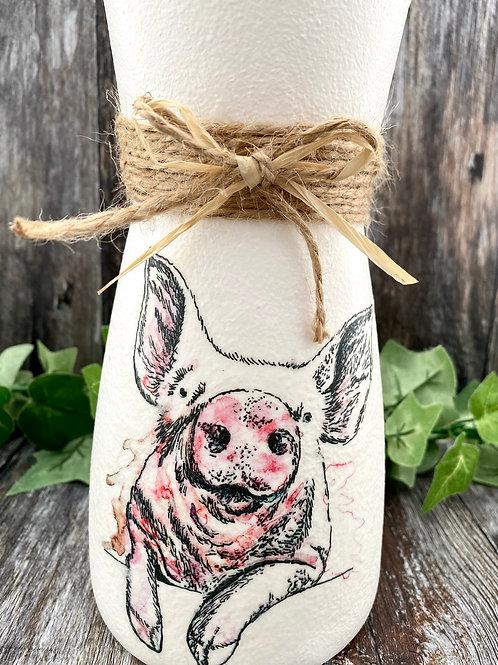 Cheeky Pink Pig Vase