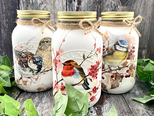 Set of 3 Garden Bird Mason Jars