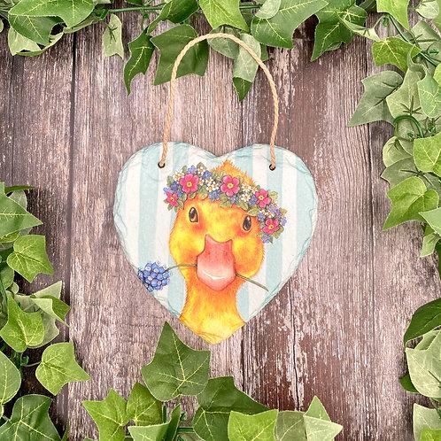 Cute Duckling Slate Heart Plaque
