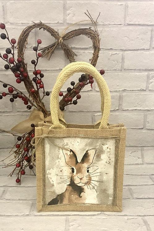 Small Cute Hare Jute Bag