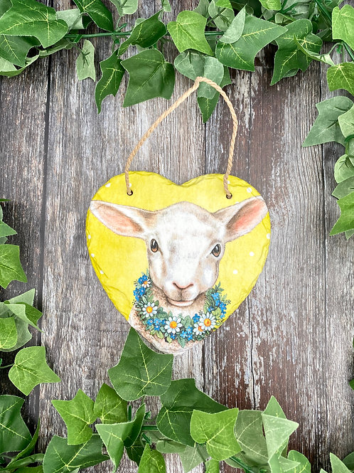 Floral Lamb Slate Heart Plaque