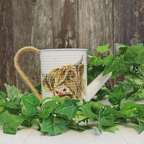 Farmhouse Style Highland Cow Watering Can