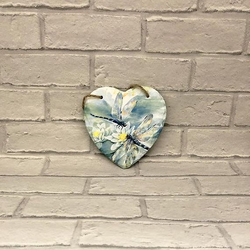 DRAGONFLY SLATE HEART PLAQUE