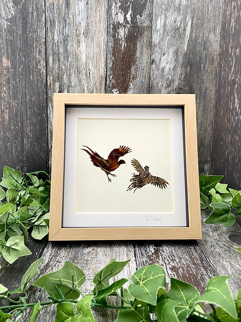 Fighting Cocks Pheasant Feather Framed Art