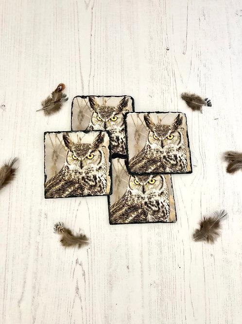 SLATE OWL COASTERS Set of 4